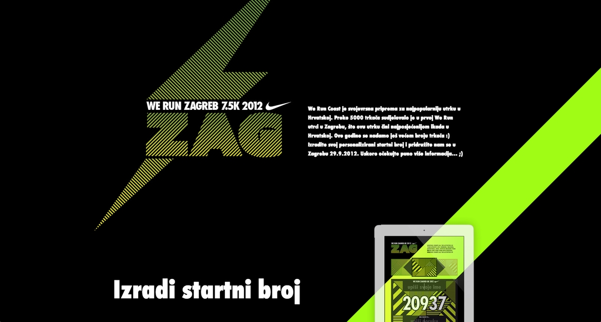 Nike we run Zagreb homepage