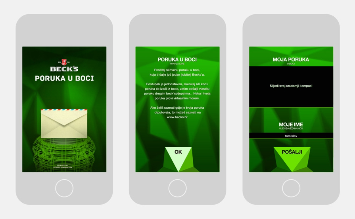 Becks poruka u boci iphone mockup
